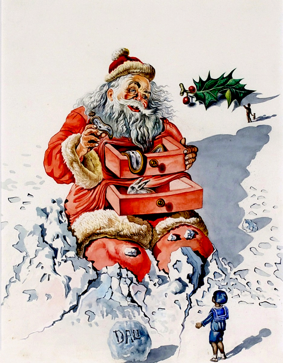 Salvador Dali's work is never dull.  I love his added spice of surrealism for this Santa commission that he created for Hallmark in the 1950′s. Merry Christmas. Enjoy.
