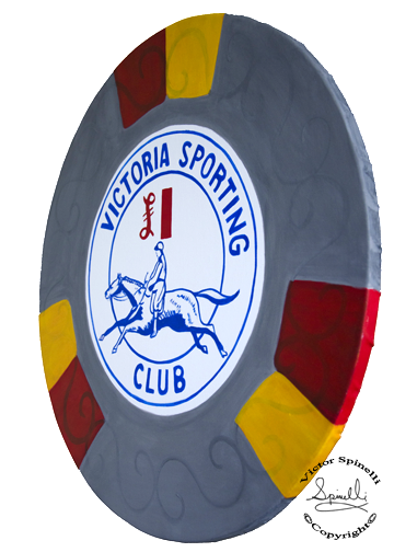 This is my latest piece of Pop art. London's Victoria Sporting Club is most famous and I love this £1 Chip. 24 inch diameter and painted on solid wood. Enjoy.  The whole collection can be seen here:  http://www.victorspinelli.com/#/casino-chips/ Sales Inquiries please email: Hello@SPiNgalleries.com