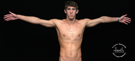 You are looking at a naked Pre-Gold Michael Phelps. A photograph I took just before the 2004 Athen Olympics. Now with 23 golden medals under his belt, the greatest swimmer to ever live can ride the waves into the sunset.