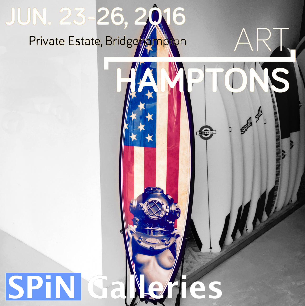 "I'm super stoked with this ""one of a kind"" collaboration between stellar surfboard maker and artist, Tim Bessell and my Diver UP.  She's ready to ride the waves to the Art Hamptons show next week. Please stop by Booth 119 if you can visit.  This is a fine art piece however it's design is called an  Eliminator  and can, for sure, rip it up out there on the waves.  You can see more of Tims work here:  http://timbessell.com/"