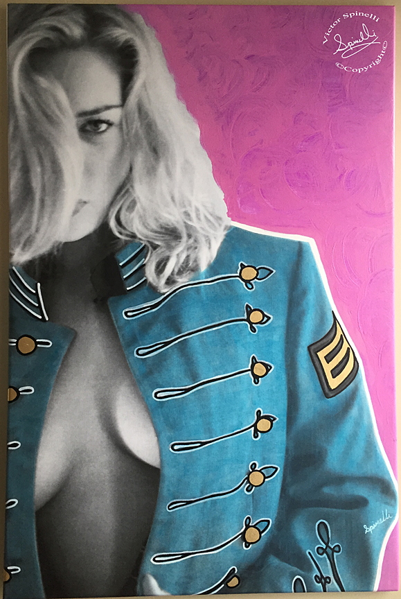 Entering the Pop world, the one and only, Lieutenant Pepperberry. My latest. Mixed media 24x36. Acrylic, oil, gold leaf and canvas. She's a fierce and loyal cadet. Unique piece for history. Image ©Victor Spinelli archive
