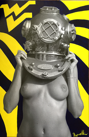 My latest art commission with Diver UP from a West Virginia University alumni. Go Mountaineers! 20x30in Synthetic Polymer Paint on Canvas. Original photo taken in Ibiza, Spain on September 27th, 2005. ©Victor Spinelli