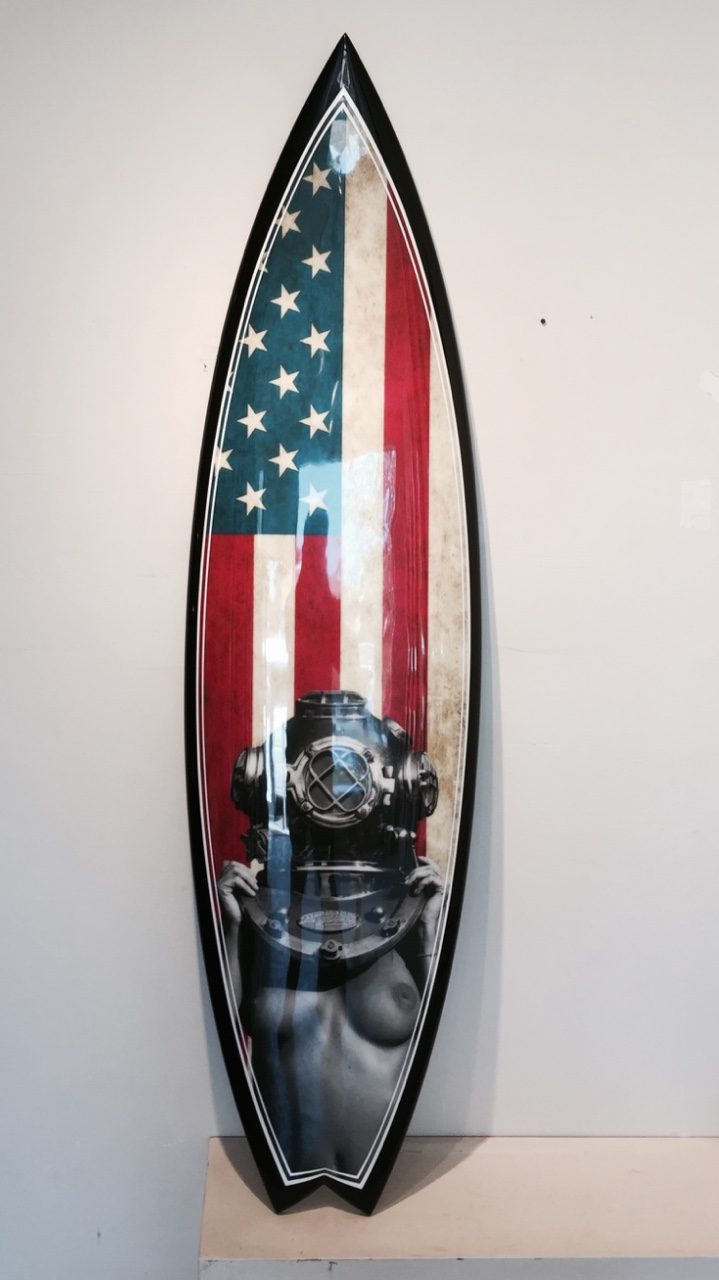 "Artist Tim Bessell has finally finished this super surf board of my original photograph, ""Diver UP"" Yankee. If you are in La Jolla, California please check it out at his studio- showroom . Maybe go for a ride! Unique Board. RIDE it or COLLECT it! Your choice"