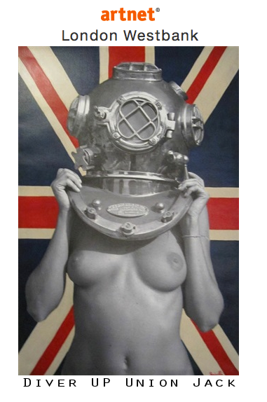 """Check out this link on ArtNet, one of the webs top art sites.  http://artnt.cm/1IKTWR7  """"Diver UP Union Jack"""" is flying at The Westbank Gallery in London. And she is among good company i.e Banksy, Mr, Brainwash, Shepard Fairey, Goldie just to name a few."""