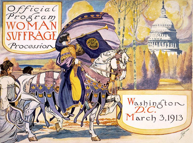 """Some Nations and cultures are 100 years behind. The   Woman Suffrage Parade of 1913  , held in Washington, D.C., was a suffragist parade organized by  Alice Paul  for the  National American Woman Suffrage Association . On March 3, 1913, the day before President  Woodrow Wilson 's  inauguration , thousands of suffragists marched down  Pennsylvania Avenue  """"in a spirit of protest against the present political organization of  society, from which women are excluded"""". The march and the attention it  attracted were important in advancing  women's suffrage  in the United States."""