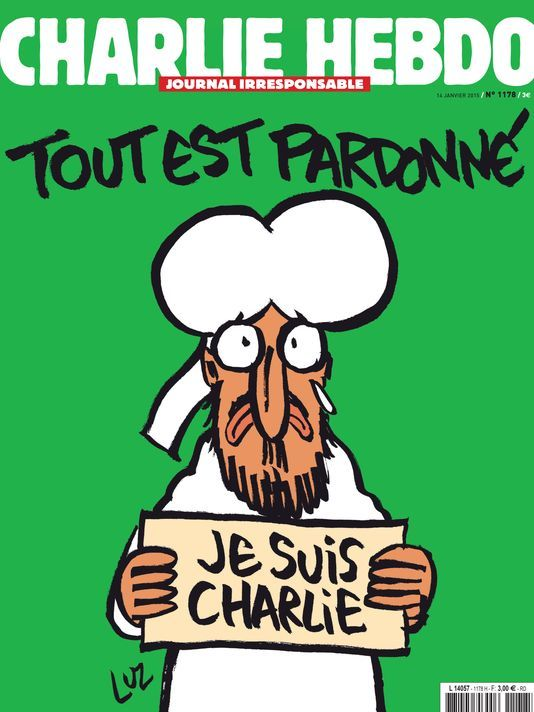 """Cover of Charlie Hebdo today. Prophet Mohammed saying """"All is forgiven"""" with a tear. Usually a print run of 60,000 copies has turned into a print run of 5 million copies."""