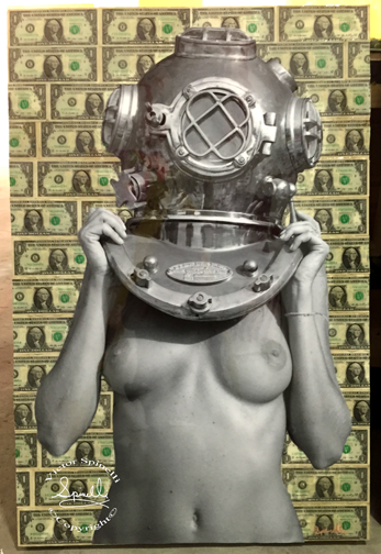 """TONIGHT! """"Diver UP! Showdown"""" 18 Urban contemporary artists will interpret the image """"Diver UP!"""" by Victor Spinelli at the Stray Kat Gallery 450 w 14th St. NY NY 10014 at 10th Ave. 7-10pm   The prominent 18 artists who will create a piece for the show are: Anders Malmberg, Carlos Pinto, Craig Anthony Miller, Col Wallnuts, Deadcell 84, DOPE aka Joseph Bottari, FUMERO, Greg Frederick, John Arthur Carr, Jill Folino, LightweightNYC, Nathaniel Galka,Raquel Echanique, Savior Elmundo, Sean Calen Blake, SIENIDE, SpazeCraft One and Tobias Batz.   Image is """"Diver UP! Holy Dollar"""" 24x36 Canvas, $1 bills, resin on board. ©Victor Spinelli"""