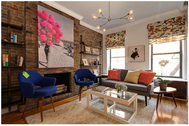 Interior Designer Justin Venk designed this room around my Balloon Beach Mixed media piece. Enjoy   Check this Link  http://www.houzz.com/photos/16174855/Chelsea-Studio-Apartment-contemporary-living-room-new-york