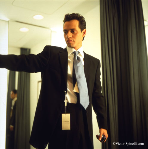 A styling moment that I captured while working with Singer, Marc Anthony on an I Love NY commercial. He is wearing a Giorgio Armani suit in the Armani store in SoHo. Taken with a Rolleiflex 6x6mm camera. Enjoy.