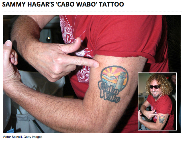 Backstage shot I took of Sammy in Las Vegas. Cabo Wabo Tequila.   Link here:  http://ultimateclassicrock.com/sammy-hagar-cabo-wabo-tattoo/