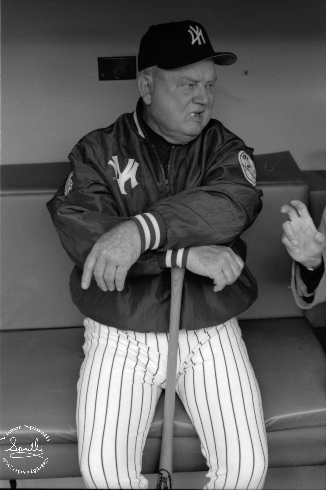 """R.I.P Don Zimmer. A baseball legend. I took this photograph of """"Zim"""" in the New York Yankee dugout during the 1999 World Series. ©Victor Spinelli Archive.   Full story on NPR here:  http://www.npr.org/blogs/thetwo-way/2014/06/05/319058748/baseball-man-don-zimmer-dies-ending-an-epic-sports-career?sc=17&f=1001&utm_source=iosnewsapp&utm_medium=Email&utm_campaign=app"""