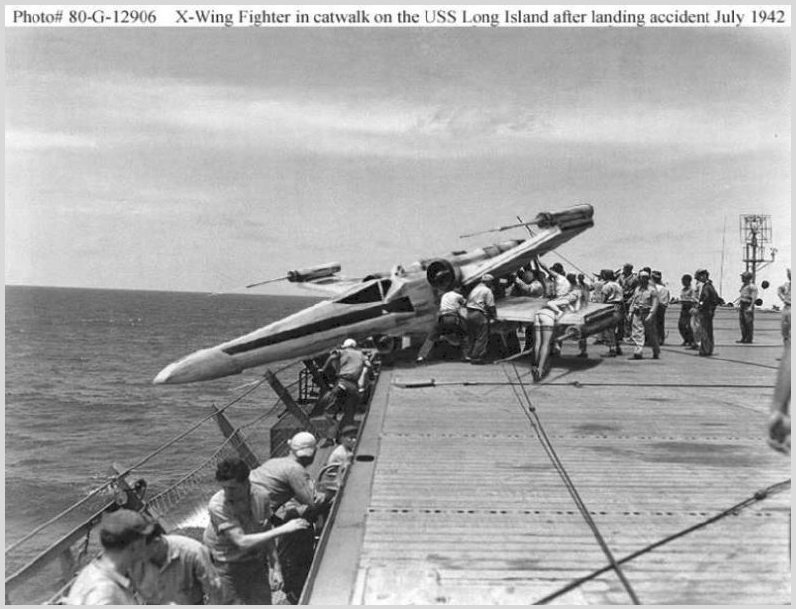 Just released. Star Wars X-wing fighter being dump into sea after crash landing on US Aircraft carrier in WWII.