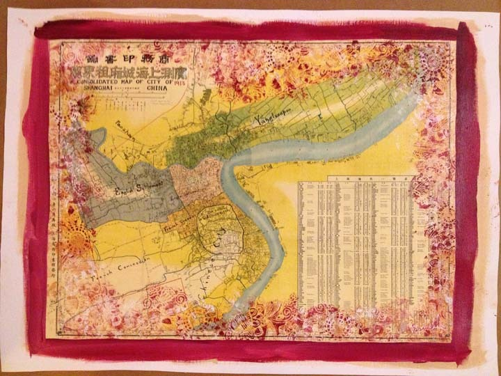 Shanghai Map from 1913 mixed with Acrylic. ©Victor Spinelli   At the SPiN Galleries in TianZiFang