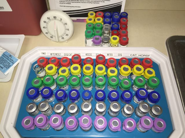 An allergy testing kit tray set up for testing patients.