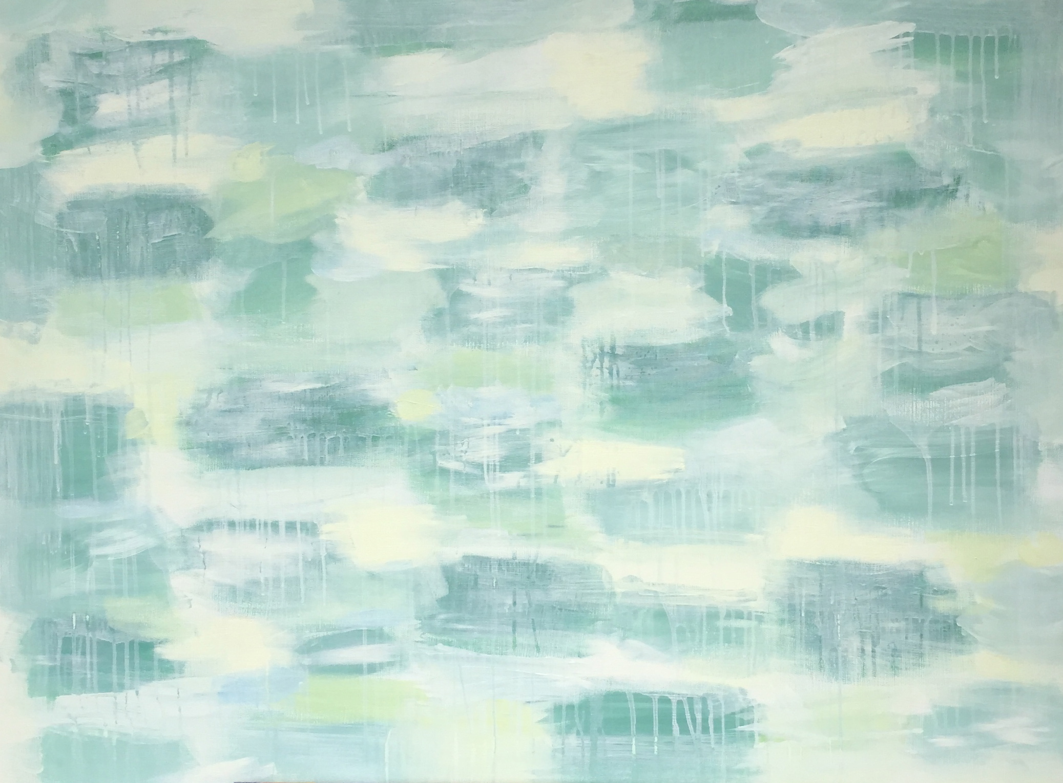 Lily Pond , 40x30, acrylic on stretched canvas, green painted edges.  Sold.