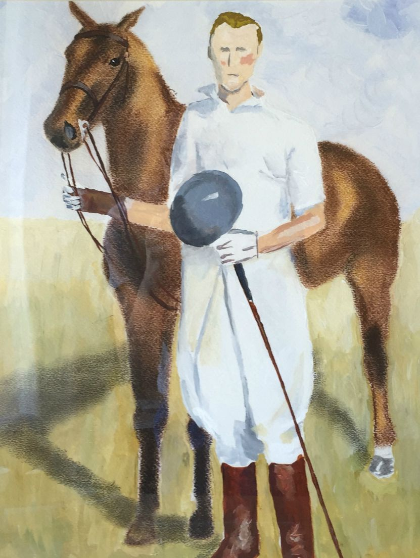 Polo player , pastels and pencils on paper, framed in natural wood.  $400.