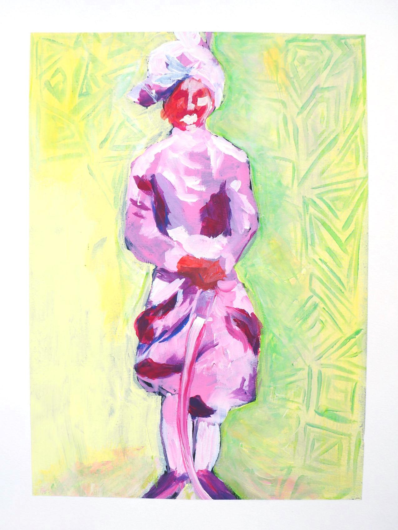 Pink Maharaja, 20 3/4 x 18 3/4, acrylic on paper, $150