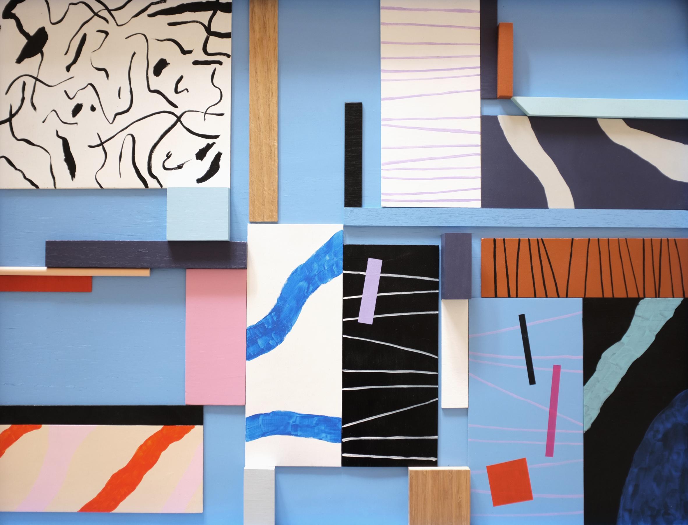 Cross Sections/ enamel, acrylic and wood on board, 2016
