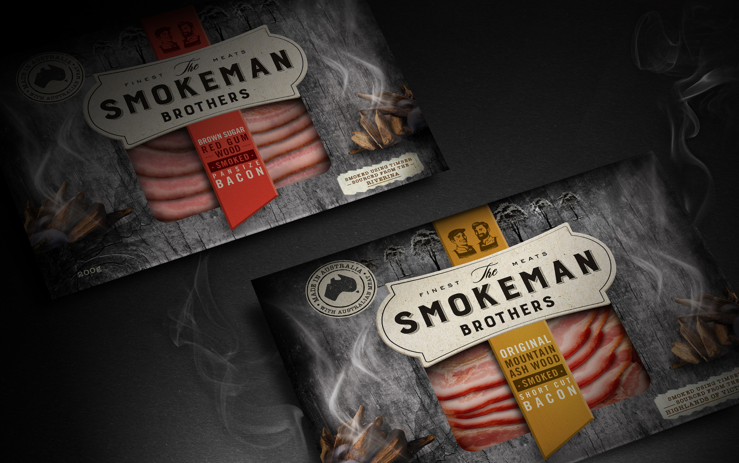 Our Revolution Smokeman Brothers Brand Design Logo Design Packaging Design Brand Strategy Brand Innovation Pie Packaging Food Design Food Brand Food Branding Food Packaging Food innovation Packaging Innovation Meat Packaging Meat Brand Smallgoods packaging Smallgoods branding