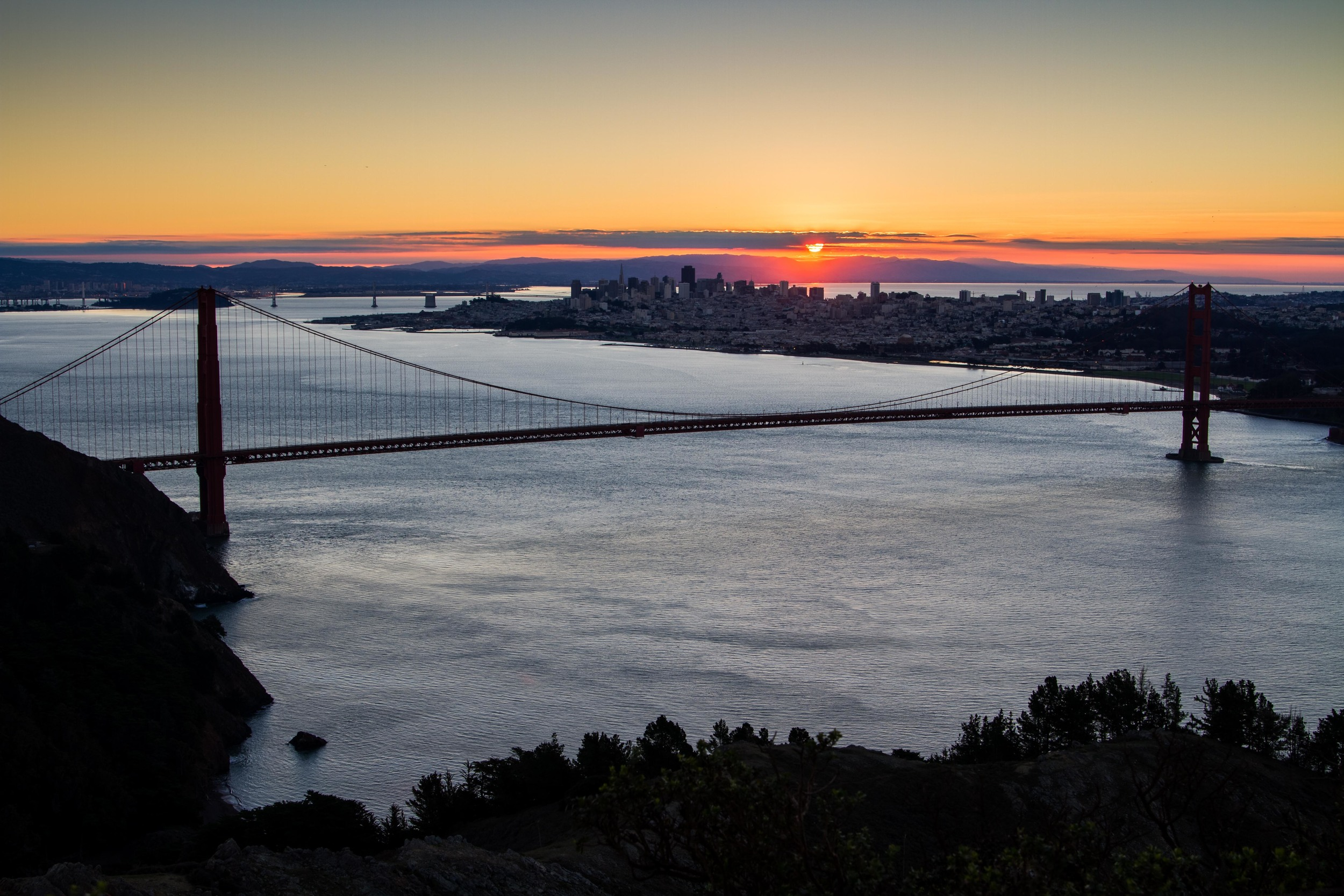 The first sunrise of 2016 over San Francisco.