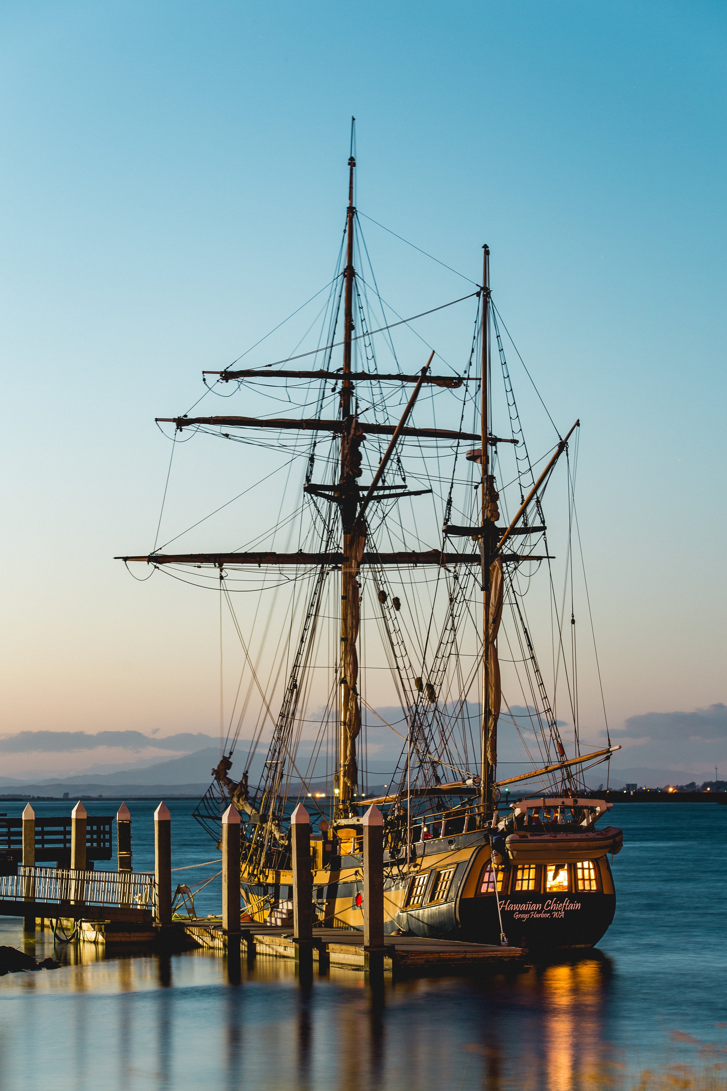 The Hawaiin Chieftain Docked at the Antioch Marina behind the Humphry's building, facing north-west. Image taken on October 2nd, 2016 at 7:22pm by Michael Pohl.