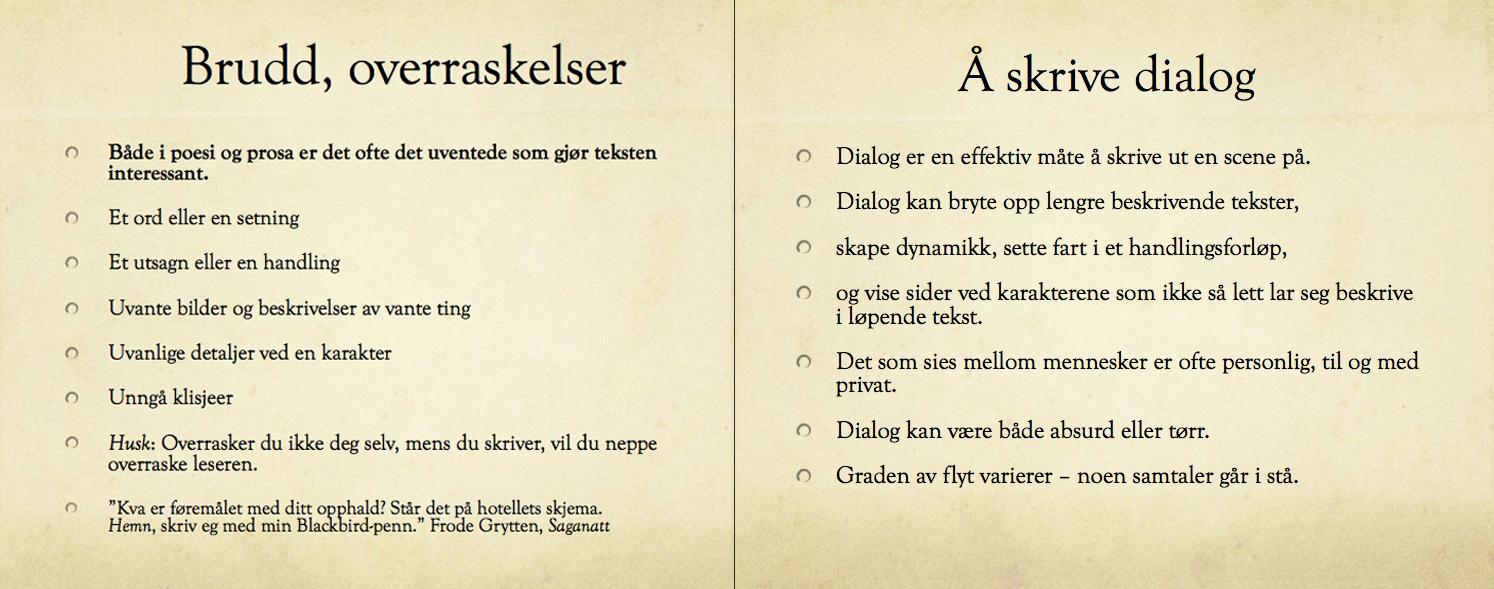 Faksimiler fra ulike lysbilder i Maria Børjas presentasjon