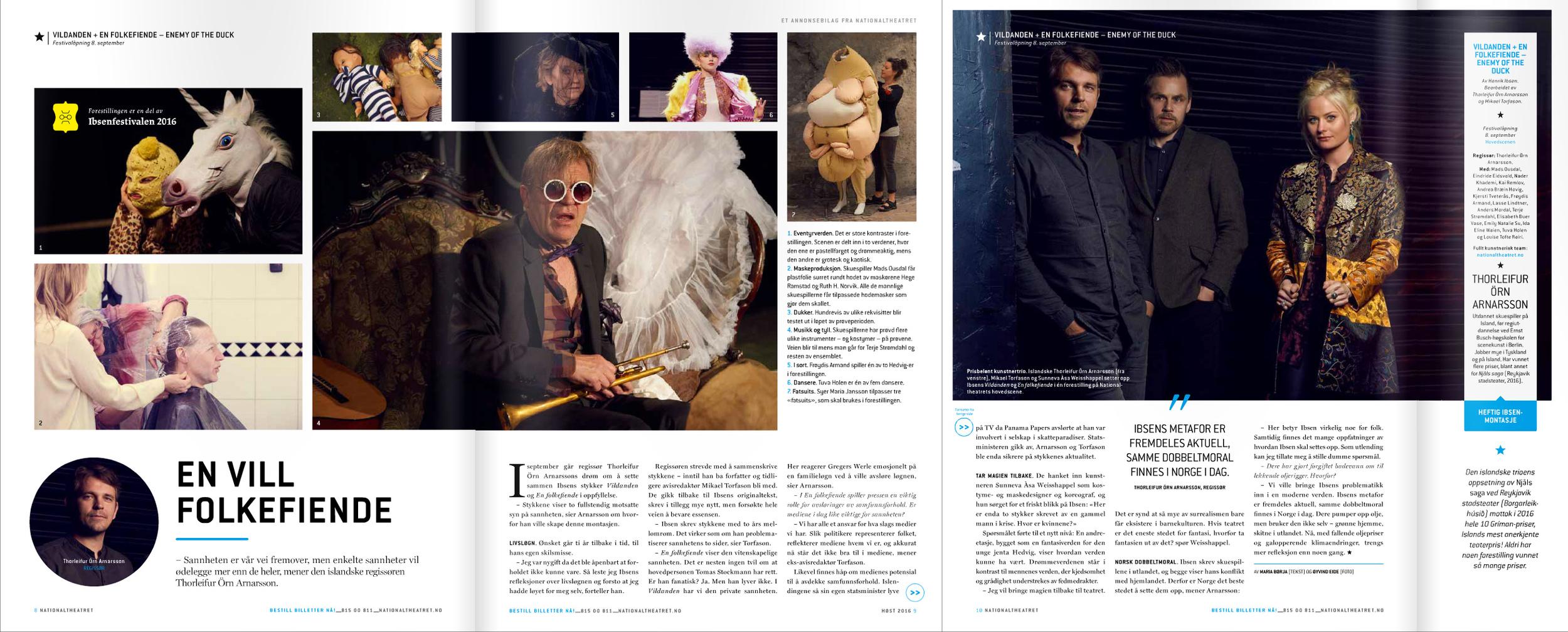Intervju med Thorleifur Örn Arnarsson, Mikael Torfason og Sunneva Àsa Weisshappel i National magasin, høsten 2016.