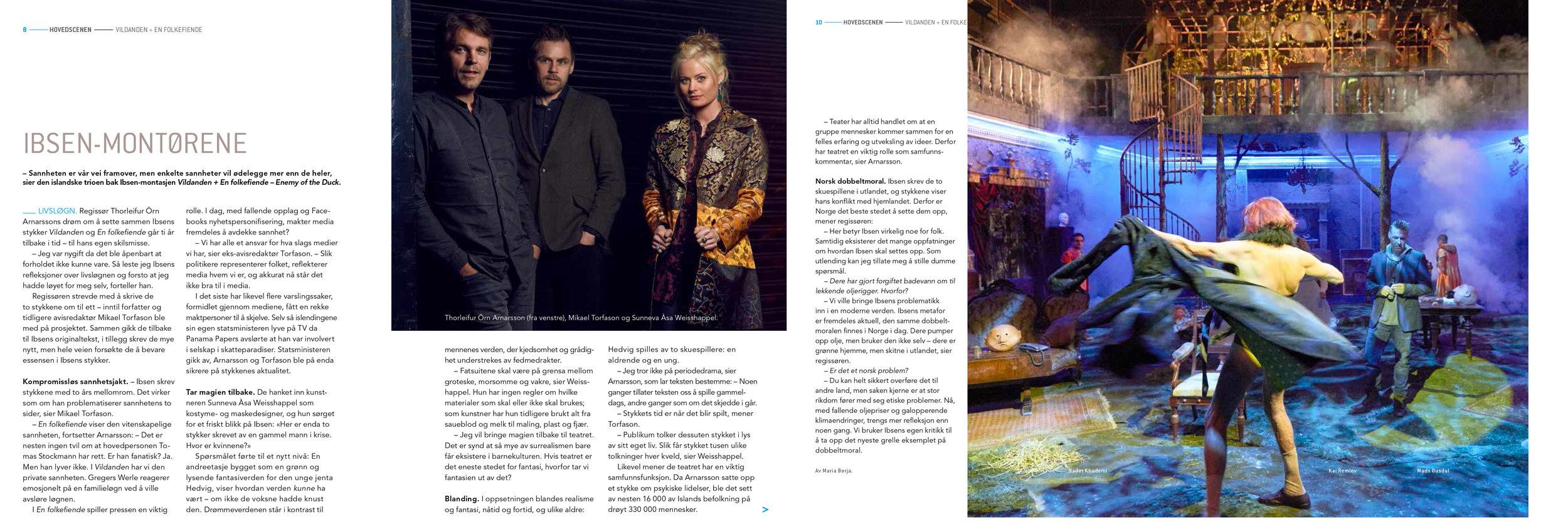 Denne islandske teatertrioen  har hatt  suksess i Tyskland og  gjort rent bord på Island. Nå står Oslo for tur. Faksimile fra programmet. Foto: Øyvind Eide