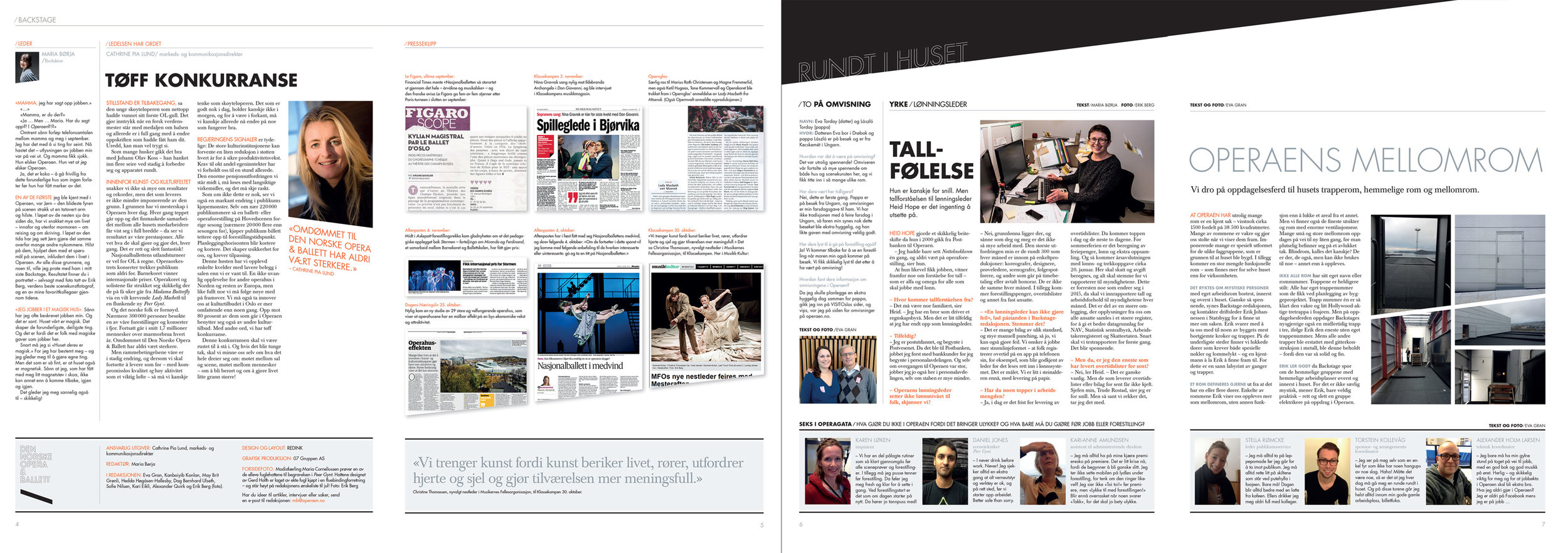 Faksimiler fra lederseksjon og presseklipp (4/2014), dernest Rundt i huset (2/2015), som går over seks sider.