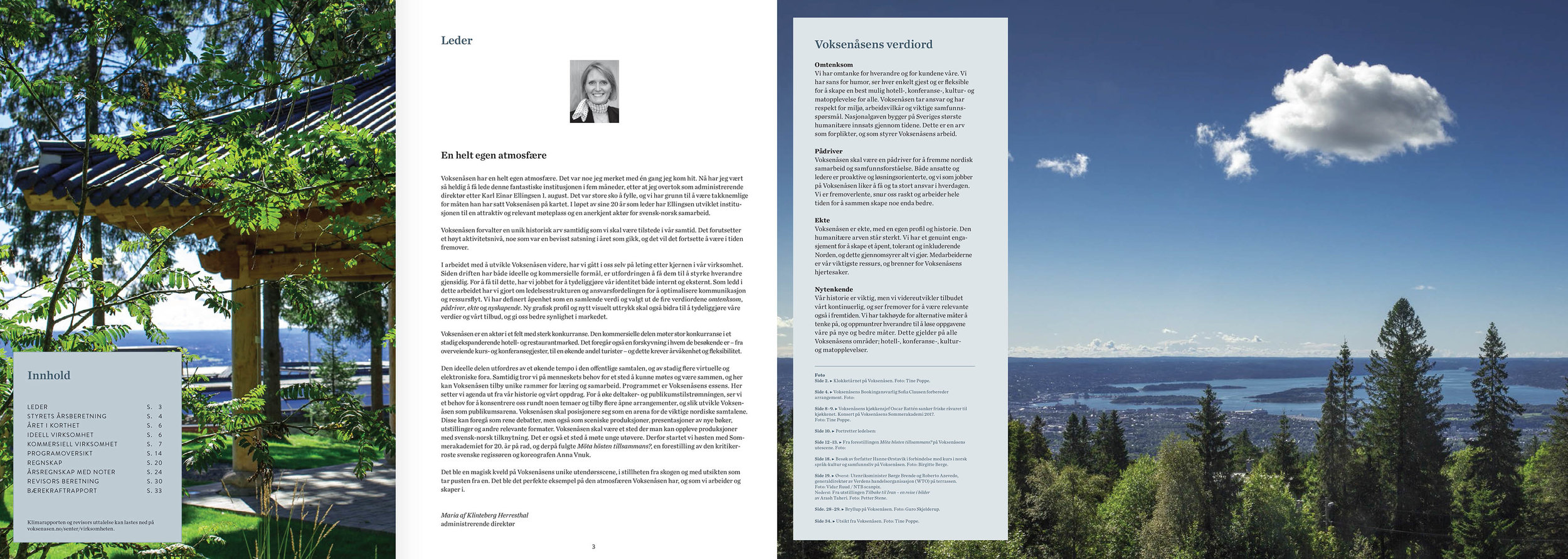 Faksmile av første og siste oppslag i Voksenåsens årsrapport for 2016. Design: Ingun Redalen White