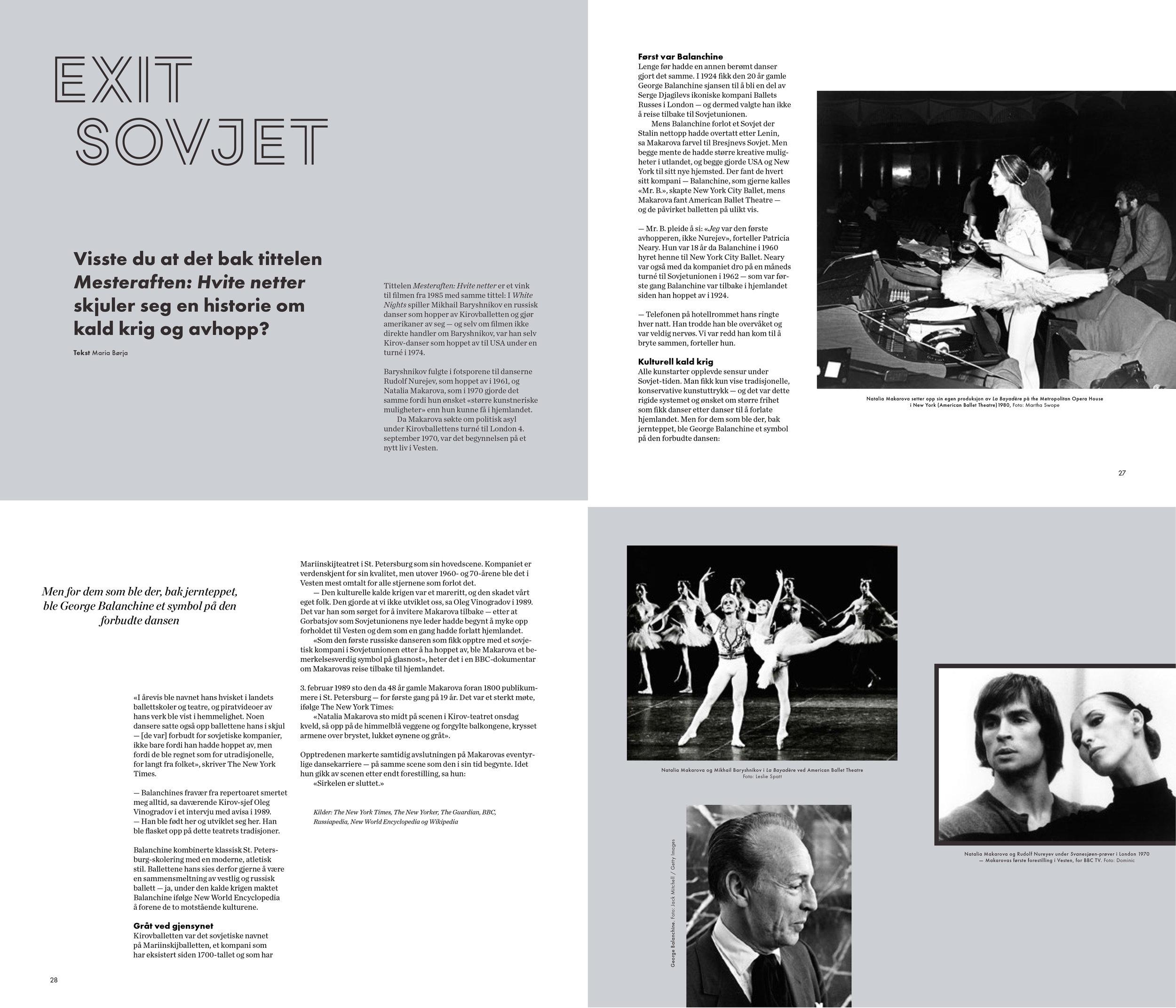 Bak tittelen  Mesteraften: Hvite netter  skjuler det seg en historie om kald krig og avhopp. Faksimile fra programmet Design: Kaja van Domburg