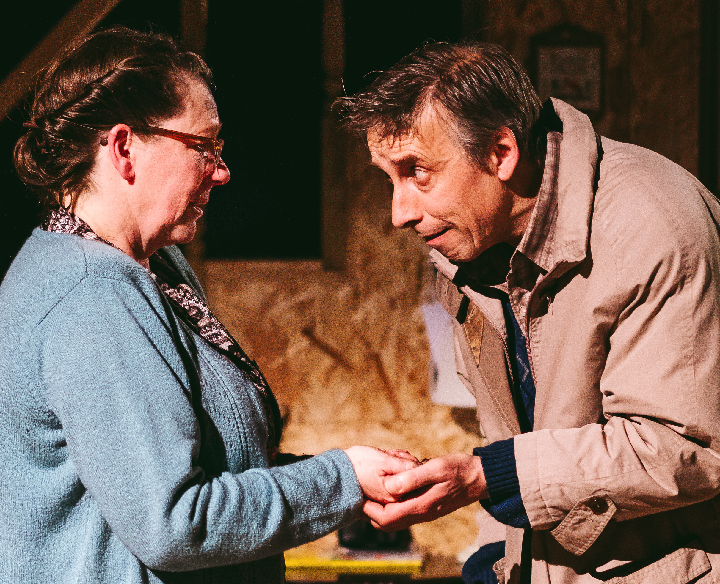 Llion Williams (Morys) and Cler Stephens (Mags) in Belonging