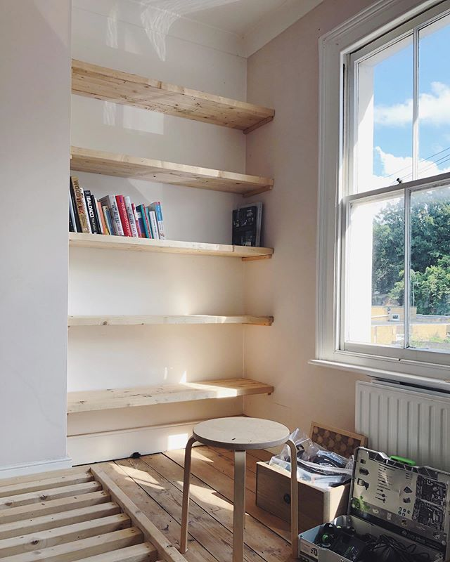 Temporary shelves into position today. We've used upcycled wood to create these. It's a great temp fix if you are looking for storage solutions that are cost effective but still look impressive. Next we will hide the batons to make them floating shelves.