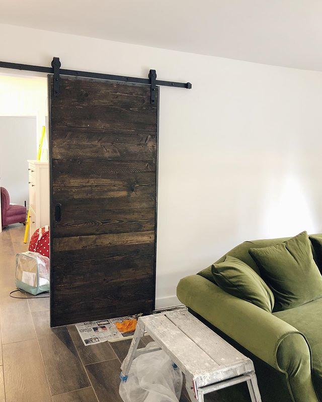 Progress pic. Sliding door stained today. Looking great! #bespoke #slidingdoor #door #interiordesign
