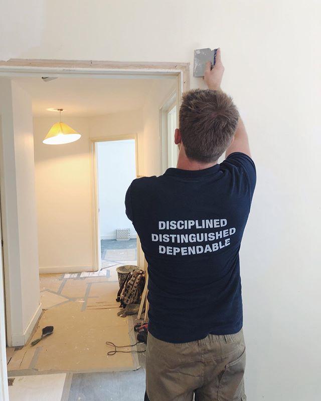Shot taken during a flat refurb, preparing the walls for a sliding door install in London Bridge