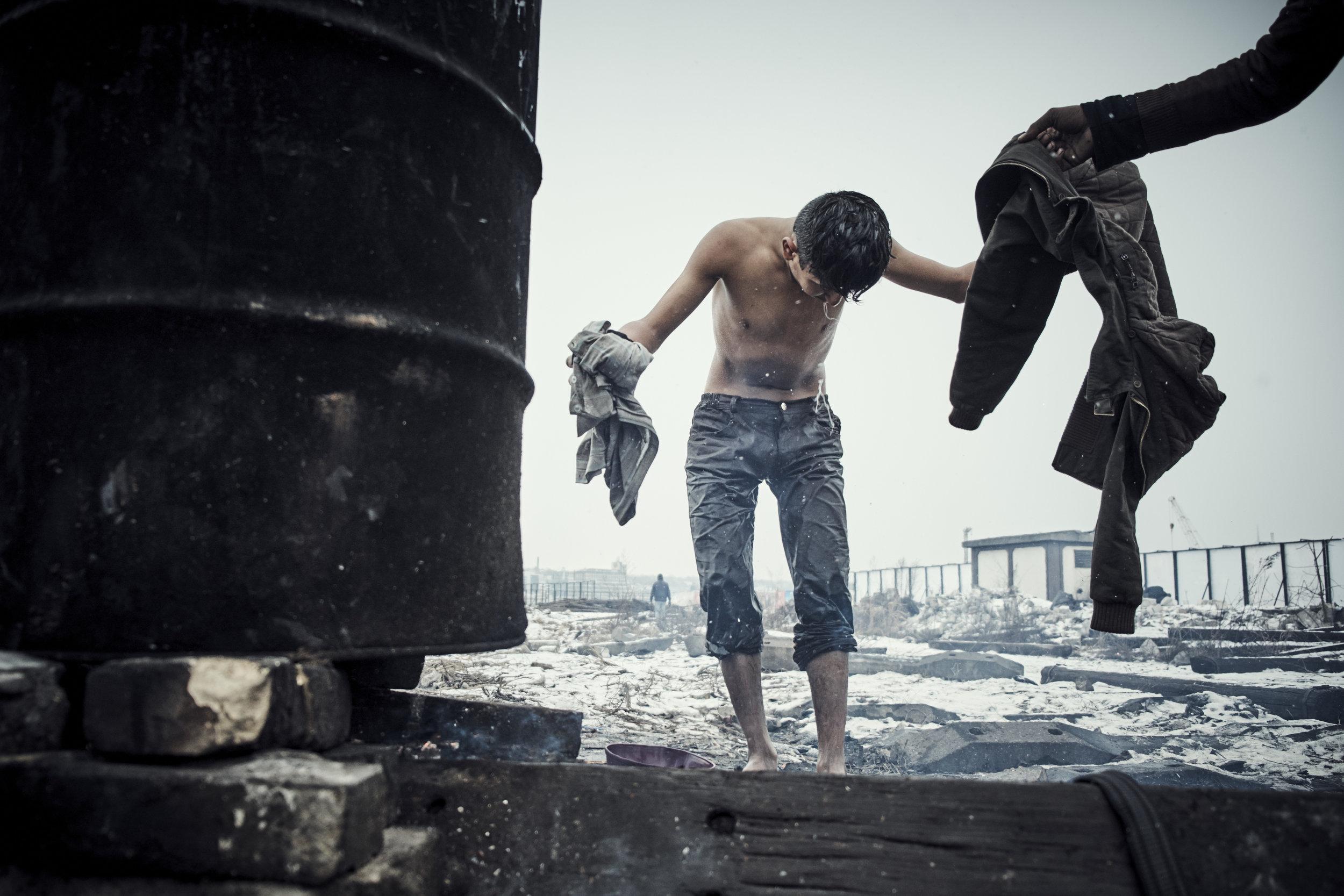 unofficial refugee camp in Belgrade