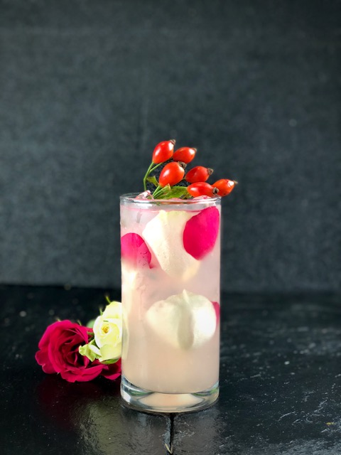 NAME: Hip Rose  DESCRIPTION: A large measure of Vodka is mixed with Rose Hip and Rhubarb Cordial, fresh lemon juice and topped with soda. Refreshing, Balanced and elegant