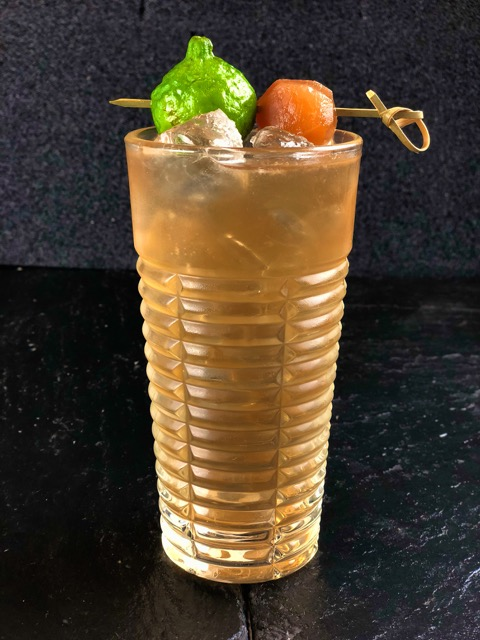 NAME: Thai Break  DESCRIPTION: a Thailand Inspired drink based with Rum, Kaffir Lime & Ginger Syrup, Cardamom and Coriander seed, balanced with fresh lime juice and Topped with Ginger Ale