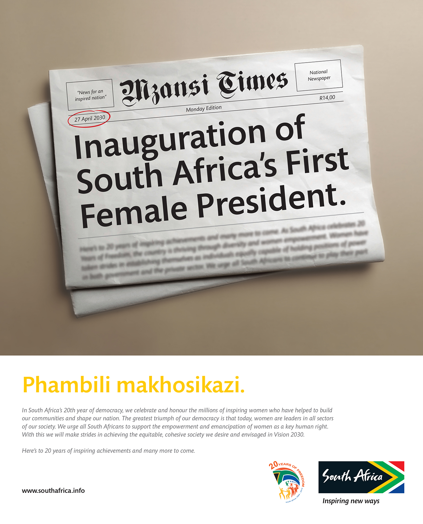 "Brand South Africa -  20 Years of Democracy  ""Forward with women"" Print"