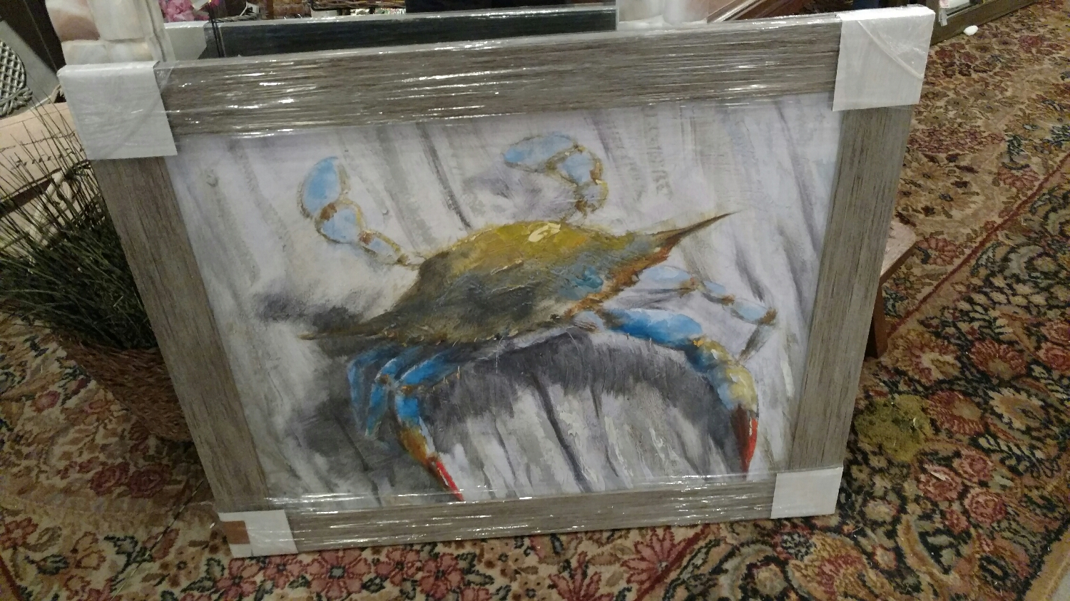 upclose crab! Hand built frames and printed image on canvas from originals!