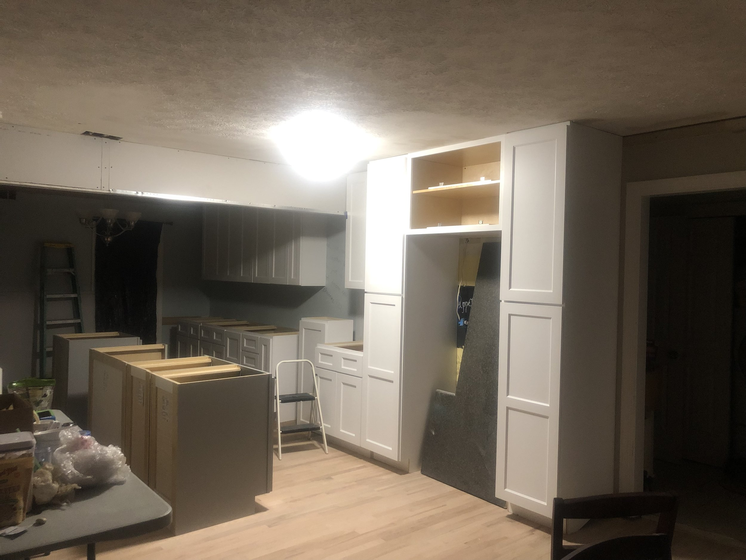 The wall separating the dining room and kitchen was a load-bearing wall, so a header was necessary.