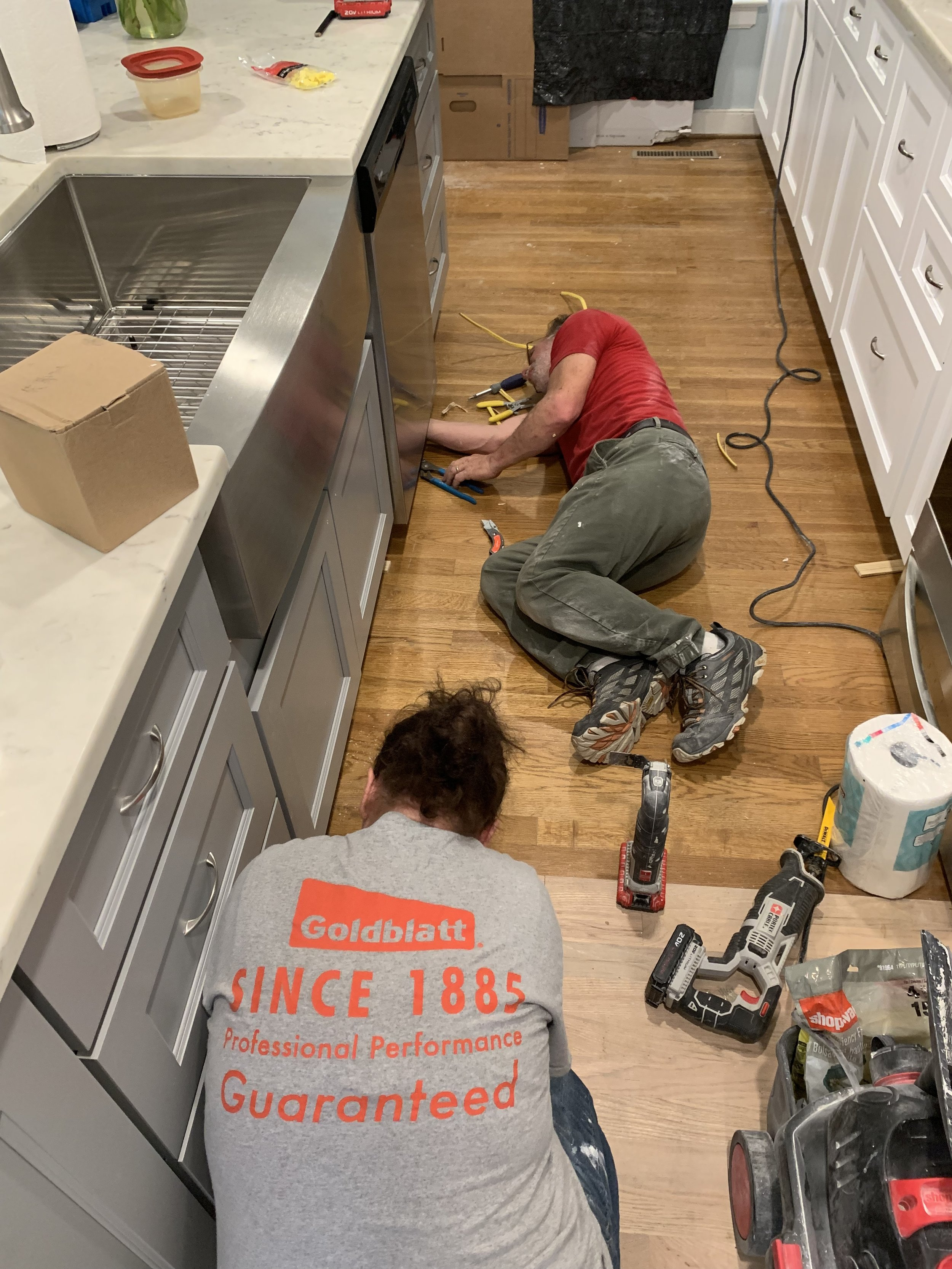 Shout out to our contractors,  Mark and Traci Johnson , who took our vision and executed it! Notice the two-toned floors. We had the tile removed and had wood floors put down instead.
