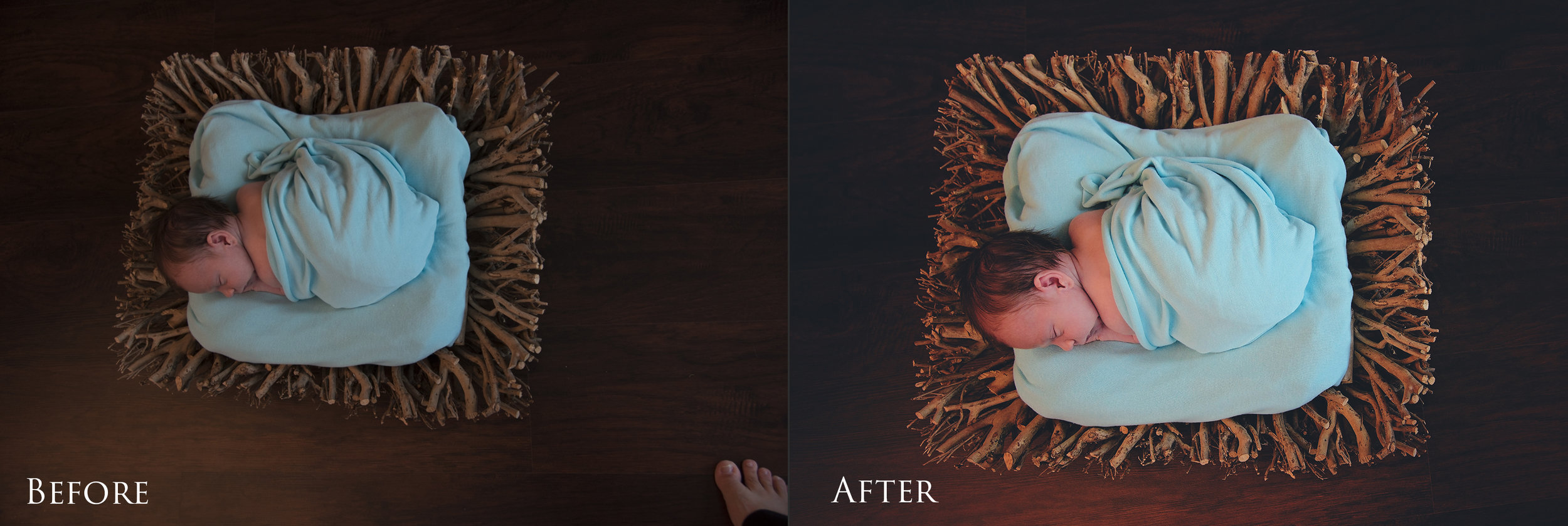 Newborn Photoshop Before & After. Yes, that is my foot in the original!