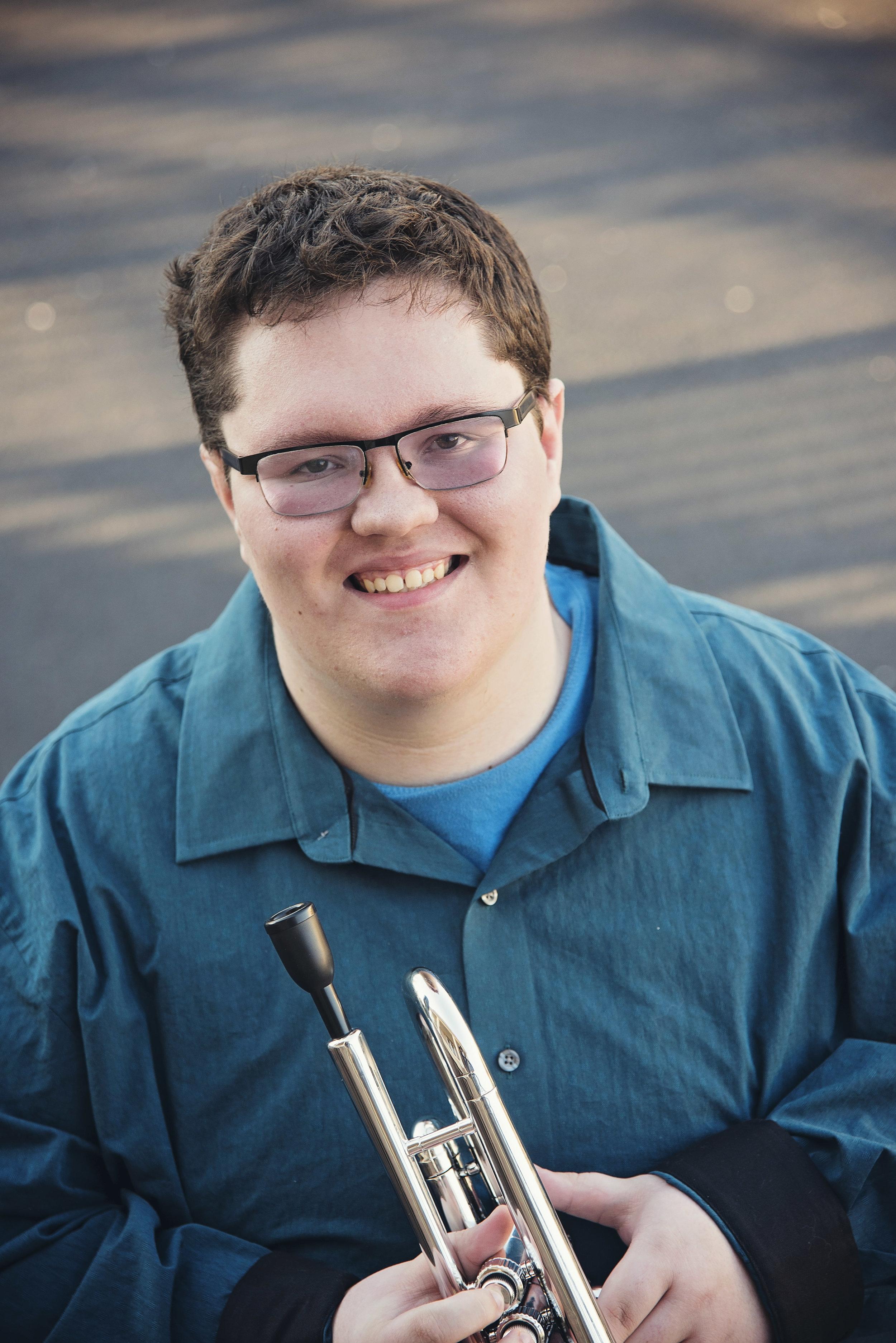 High School Senior Boy holding trumpet Remember When Portraits Cincinnati Senior Photos