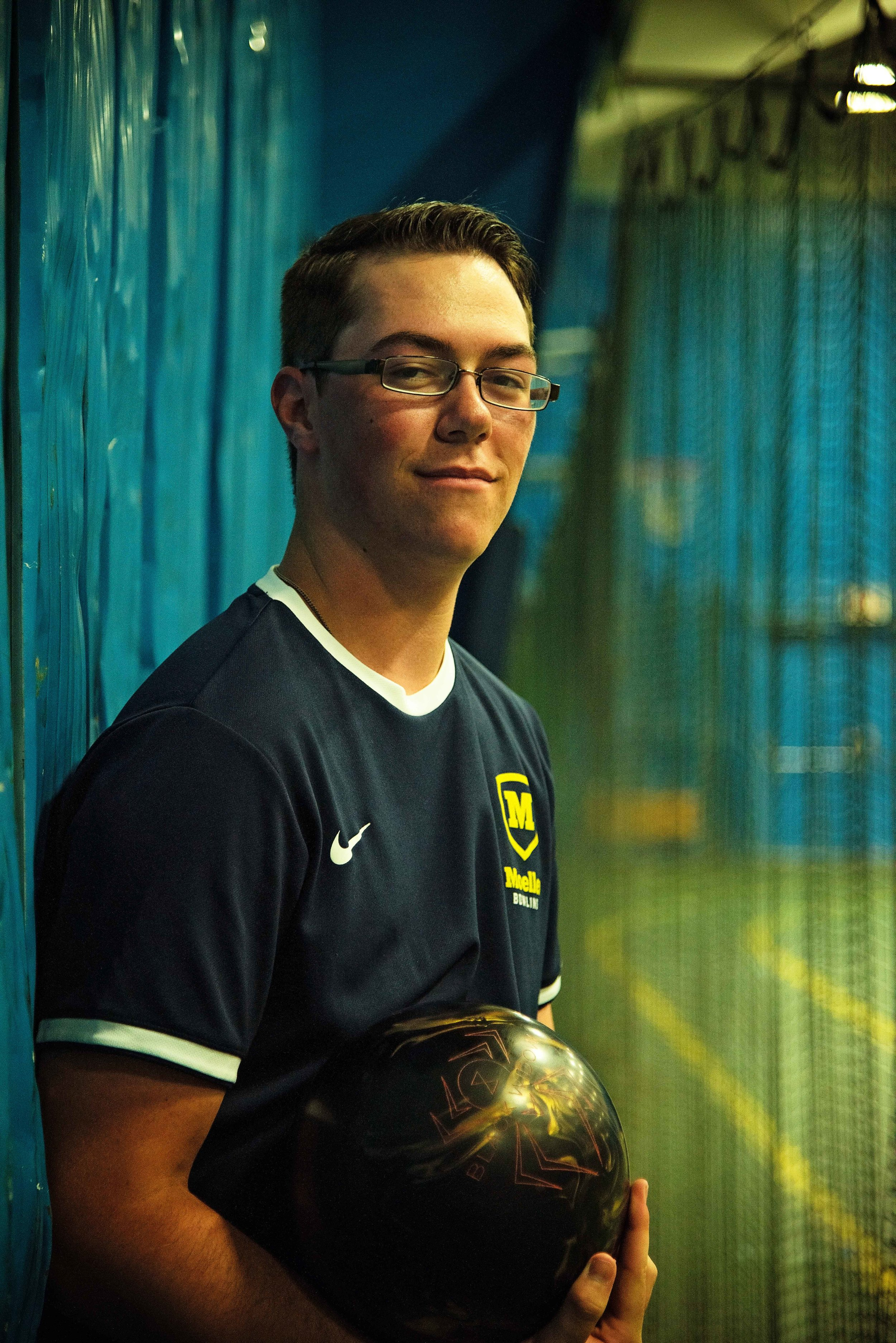 Kyle Smith holding Bowling Ball Moeller High School Bowling Class of 2020 Remember When Portraits