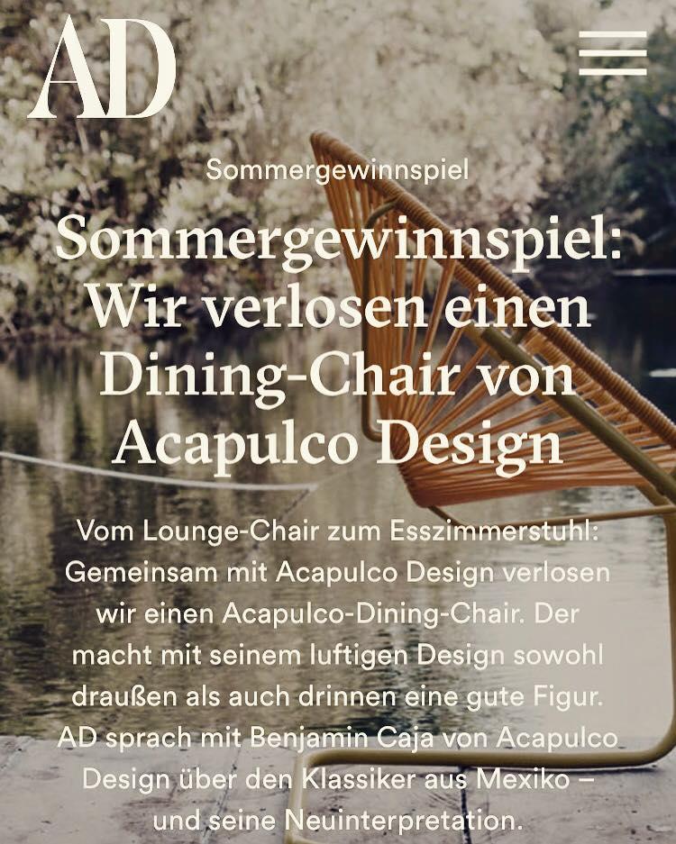 Im Interview mit dem AD Magazin könnt Ihr alles zu unserem neuen Dining Chair lesen und zudem ein Modell gewinnen: https://www.ad-magazin.de/article/acapulco Viel Spaß und Erfolg!