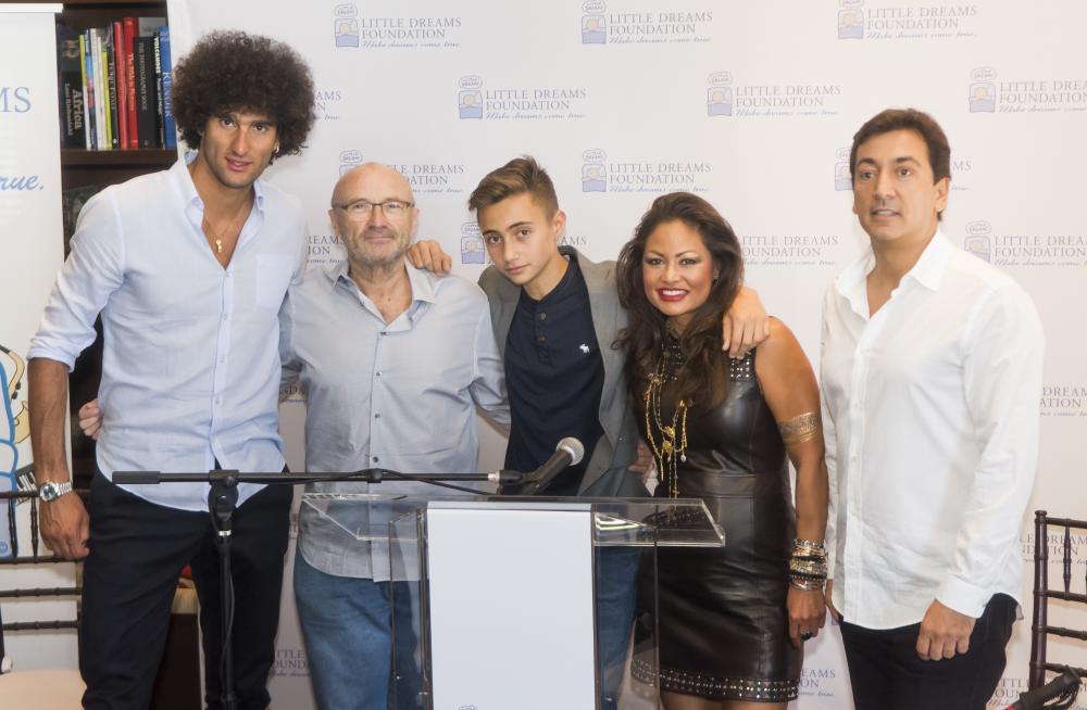 Marouane Fellaini, Phil Collins, Nic Collins, Orianne Collins and David Frangioni