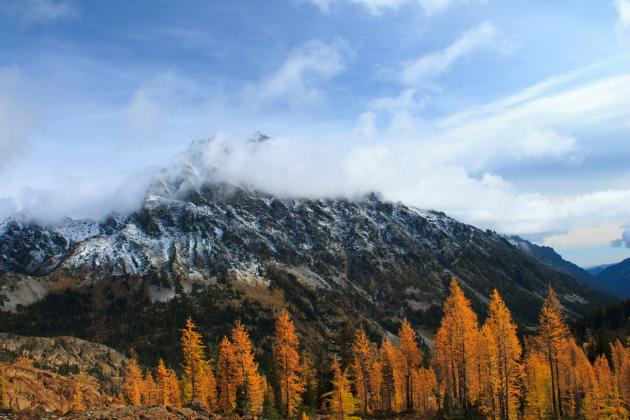 Mt Stewart hiding behind a veil of cloud