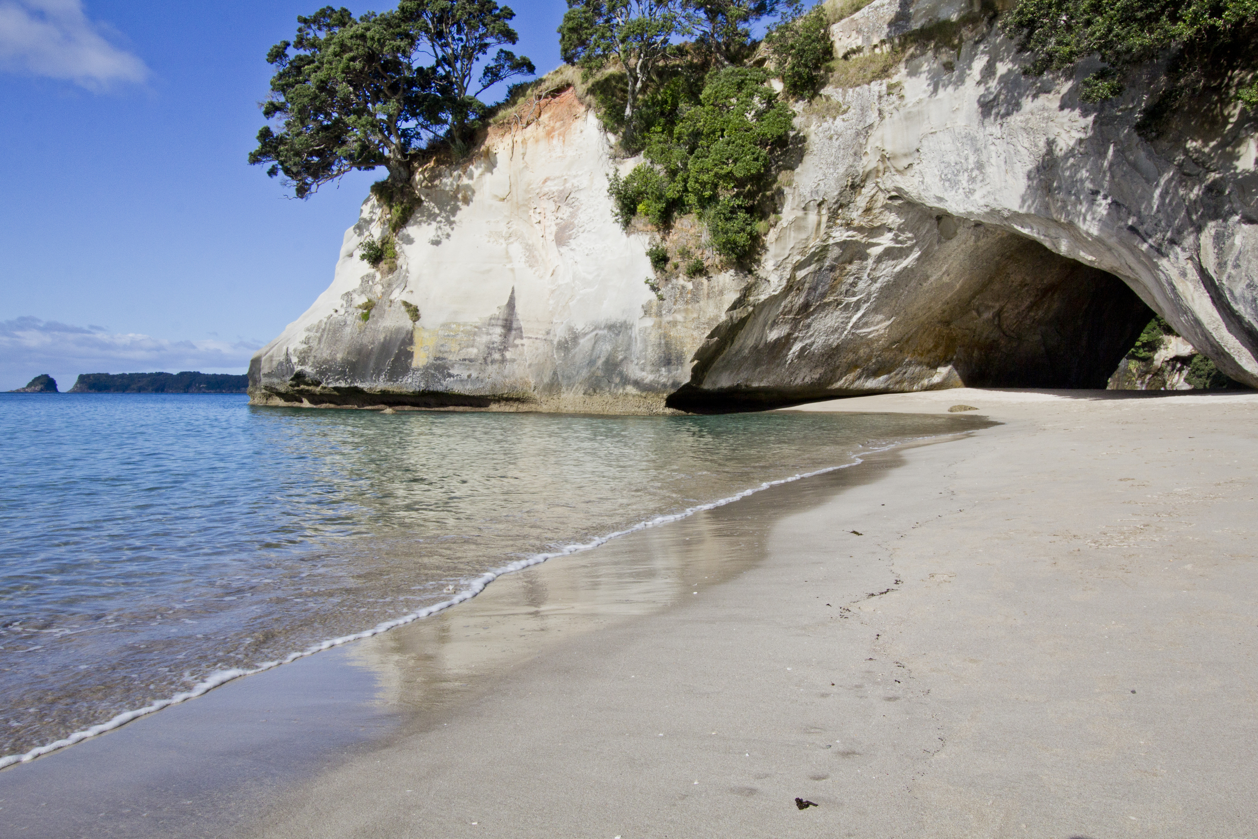 Cathedral Cove, accessible by an hour long hike, looks like the perfect beach for a relaxing day