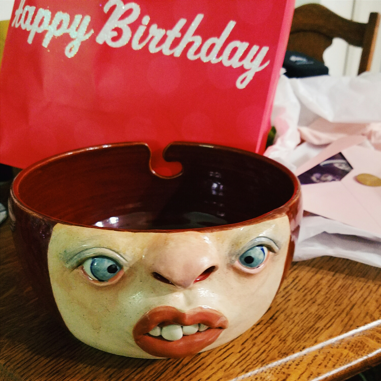 My mom found the funniest yarn bowl for my birthday!